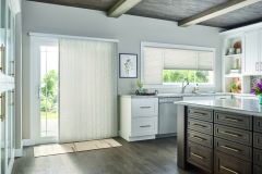 "Door: 3/4"" Single Cell Slide-Vue™ Cellular Shade: Prestige, Beige Influence 0590  Windows: 3/4"" Single Cell Cellular Shades with Cordless Lift, Three on One Headrail: Prestige, Beige Influence 0590"