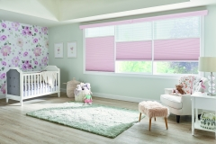 """Perfect-Vue™ Shades with Cordless Lift: 2"""" Pleated Shades: Serendipity, Heavenly 5800 (top) and 1/2"""" Double Cell Cellular Shades: Sanctuary, Pink Rose 1465 (bottom) with 4 1/2"""" Symphony Cornice with Keystone: Custom Color"""