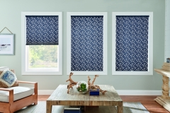 """1"""" Pleated Shades with Cordless Lift: Muse, Navy Mosaic 4130 with Privacy Liner 8000"""
