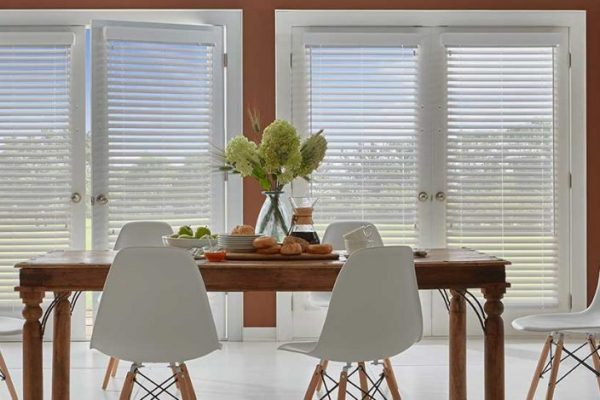 wood blinds on door with attached valance